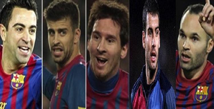 """""""Guardiola, Messi, Iniesta, Piqué, Xavi"""" en el F.C. Barcelona"""