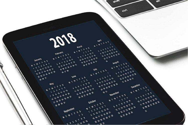 Calendario laboral 2018. Todo listo para preparar las nóminas del nuevo año