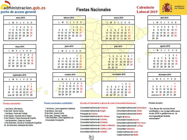 Calendario Laboral Espana 2019.Calendario Laboral 2019 Que Nomina
